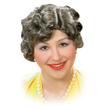 Ladies Old Grey Lady Wig Nanny Halloween Ol Woman Fancy Dress Costume Prop