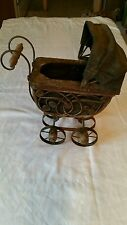 Collector's Vintage Doll Buggy w/ wrought Iron Wheel.