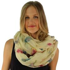 Elegant Romantic Feathers Wide Loop Circle Eternity Infinity Scarf Chain Cream