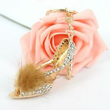 Feather High-heel Shoe Cute Crystal Charm Pusr Bag Car Key Chain Accessories NEW