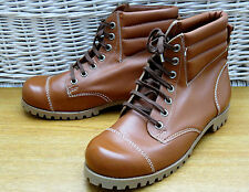 Vintage 70s 80s Mens Size 11 Tan Brown Leather Pebe Combat High Ankle Boots