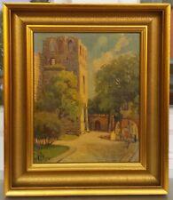 Antiquität Ölgemälde 1954 Jahr Stadt Menschen Burg Städtebild Festung Ölbild WOW