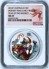2016 P Australia COLORIZED Silver Lunar Year of Monkey KING NGC MS69 1oz Coin ER