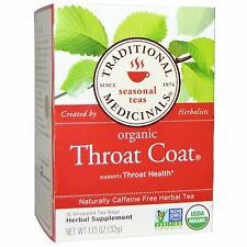 Traditional Medicinals, Organic Throat Coat, Caffeine Free, 16 Wrapped tea bags