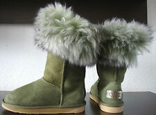 Australia Luxe Foxy short Boots fourrure bottes femmes vert cuir chaussures taille 37 NEUF