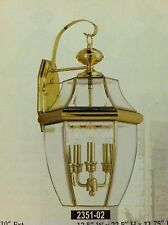 Large Gold Brass Outdoor House Light Porch Deck Lamp Lantern Fixture 3x60 W.