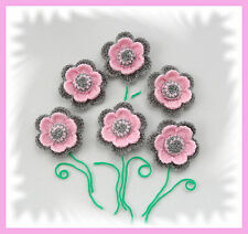 SET OF 6 CROCHET BROOCHES APPLIQUES PALE PINK GREY ACRYLIC FLOWERS