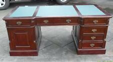 Antique Style Solid Mahogany Leather Top Large Size Partners Desk