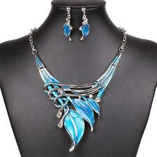 Blue Leaf Chain Choker Statement Bib Necklace Earrings Y-Necklace Jewelry Set