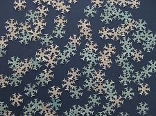 50 EDIBLE BLUE / WHITE FROZEN SNOWFLAKE RICE PAPER CUPCAKE DECORATION TOPPER