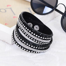ELEGANT LEATHER Slake BRACELET MADE WITH SWAROVSKI CRYSTALS - BLACK AND CLEAR