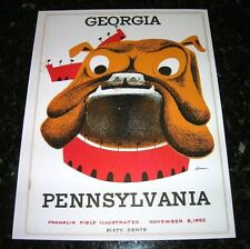 1952 GEORGIA BULLDOGS v PENNSYLVANIA QUAKERS NCAA Football Progam COVER ART ONLY