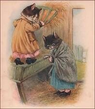 CATS in CLOTHES in the BARN, antique print, authentic 1912