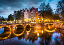 AMSTERDAM CANALS NEW A4 POSTER GLOSS PRINT LAMINATED