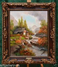 "RUSSIAN ""OLD WATERMILL LANDSCAPE"" LARGE PAINTING FREE BAROQUE FRAME NAME PLATE"