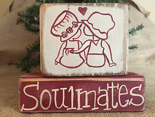 Country Primitive Boy and Girl Soulmates 2 pc Shelf Sitter Wood Block Set