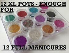 12 COLOUR POTS CAVIAR MANICURE MICROBEADS SET 3D NAIL ART GEL/NATURAL/ACRYLIC
