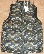 Mens REVERSIBLE BUBBLE VEST~SMALL~NWT~Full ZIP~Green Camo Black PUFFER~HUNTING
