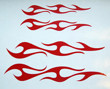 CUSTOM  FLAME VINYL DECALS BIKE HELMET STICKERS RED  SET OF 2 NEW #489