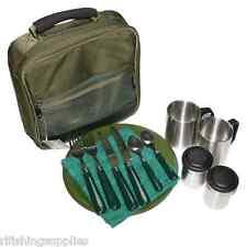 Ngt deluxe pêche camping picnic day set de couverts 2 assiettes fourchettes serviette tasses sac
