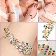 Fashion Woman Vintage Golden Crystal Peacock Bird Bracelet Bangle Cuff Chain