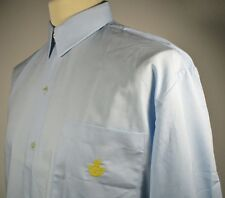 "Vintage Mens 70s Blue Workman Shirt LARGE 44"" (42-44) Postal Uniform w/ Insignia"