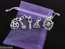 5 x Clip On Wiccan Bracelet Charms pentacle goddess spiral yule pagan silver set