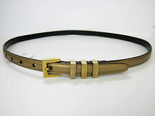 New YSL Classic 3 Passants SAINT LAURENT Belt in Gold Leather w/ Brass Buckle