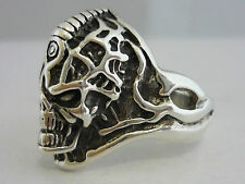 Stunning Large Men's Sterling Silver Alien Skull Ring By - Size Z