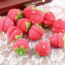 New 12pcs Foam Strawberry Balls Soft Sponge Hair Curlers Rollers Bun Round Tool