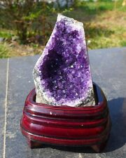 Charming Natural Deep Amethyst  Quartz Crystal cluster Uruguay with stand 43#