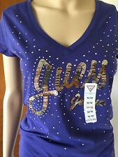 New GUESS top blouse tank tee purple gold cotton M