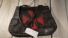 New Lambskin Shoulder Bag Purse by Micheal Michelle Medium, Red Iron Cross
