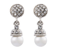 CLIP ON EARRINGS - silver plated drop earring with a pearl & crystals - Bell S