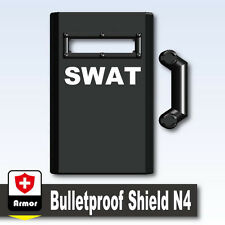 SWAT Shield N4 (W205) Riot Shield compatible with toy brick minifigures  Police
