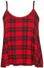 LADIES SLEEVELESS PRINTED STRAPPY CAMI VEST TOP WOMENS PLAID CAMISOLE SWING TOP