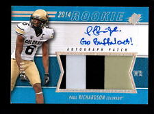 2014 SPX PAUL RICHARDSON SEAHAWKS AUTO JUMBO PATCH CARD SERIAL #ed 22/50