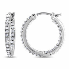 Sterling Silver 1/2 CT Diamond TW Hoop Earrings I3