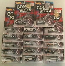 HOT WHEELS COP RODS SET OF 17 VEHICLES ALL MINT ON CARD
