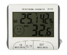 LCD Digital Thermometer Hygrometer Indoor Outdoor Weather Station With Clock