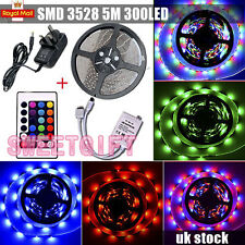 5M 3528 300 LED RGB SMD Waterproof Strip Light 12V + Remote Controller + Adapter