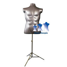 Inflatable Male Torso, Large, with MS12 Stand, Silver