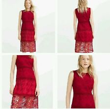 ZARA RED CONTRAST EMBROIDERED DRESS WITH LACE SIZE MEDIUM REF.1489/041 NWT!!