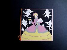 Unused Art Deco Pochoir Xmas Greeting Card from France, Young Lady with Presents