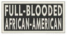 FULL-BLOODED AFRICAN-AMERICAN Iron-On Patch MC Emblem White Border