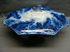 Antique Staffordshire Flow Blue Argyle Covered Serving Dish Ca 1891 Minty #1