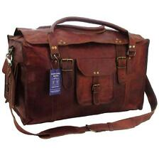 "21""x12x10 Mens Vintage Genuine Leather Flap Duffel Carry On Weekender Travel Bag"