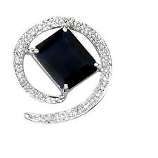10K WHITE GOLD 3.68 CTW SAPPHIRE & DIAMOND PENDANT ( NO CHAIN )