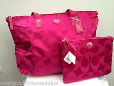 NWT COACH NYLON Fuchsia PACKABLE WEEKEND Shoulder Overnight TRAVEL TOTE F 77321