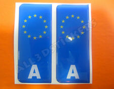 2x3D Sticker Resin Domed Euro AUSTRIA Number Plate Car Badge Adhesive Decal